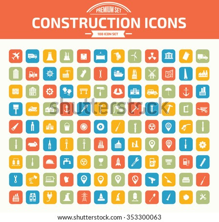 Construction icon set design,clean vector - stock vector