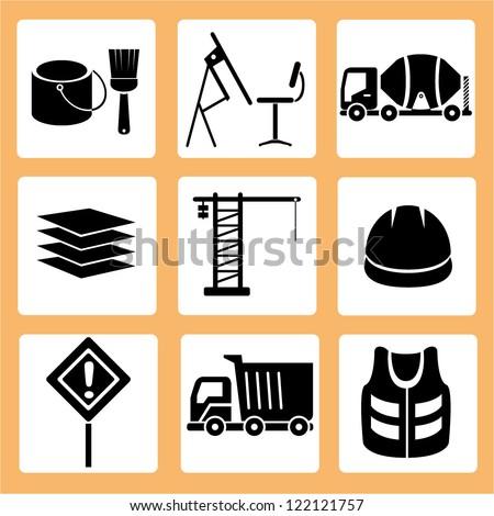 construction icon set, vector - stock vector