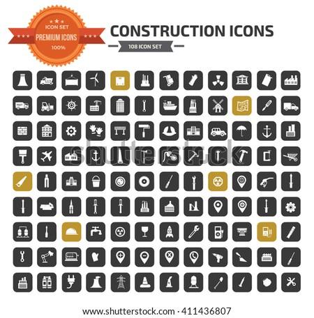 Construction icon set,vector - stock vector