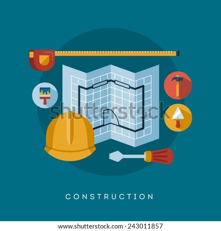 construction icons and symbols, vector concept flat style illustration - stock vector