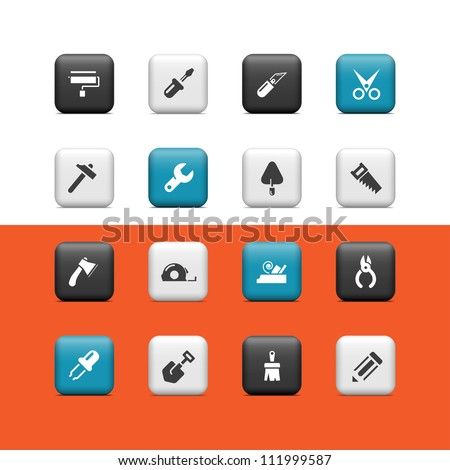 Construction icons. Buttons - stock vector
