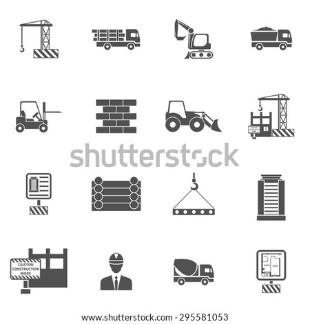 Construction icons flat black set with bulldozer mixer and lifter isolated vector illustration - stock vector