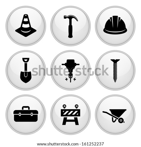 Construction Icons Glossy White Button Icon Set - stock vector