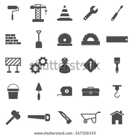 Construction icons on white background, stock vector - stock vector