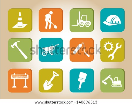 construction icons  over beige background vector illustration - stock vector
