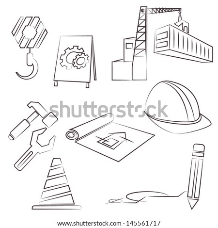 construction icons, pencil sketch line icons set, vector - stock vector