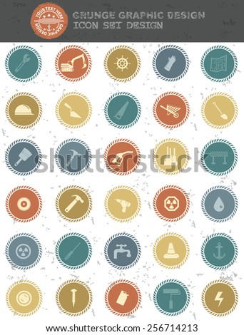 Construction icons,retro style,clean vector - stock vector