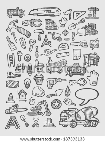 Construction icons sketch. Good use for website icons, symbol, sticker, or any design you want. Easy to use, edit or change color. - stock vector