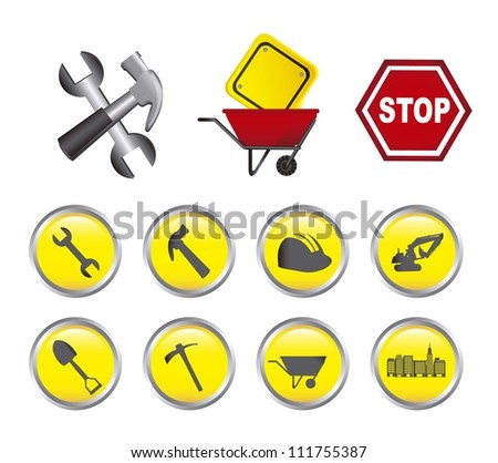 construction icons with buttons isolated over white background. vector - stock vector