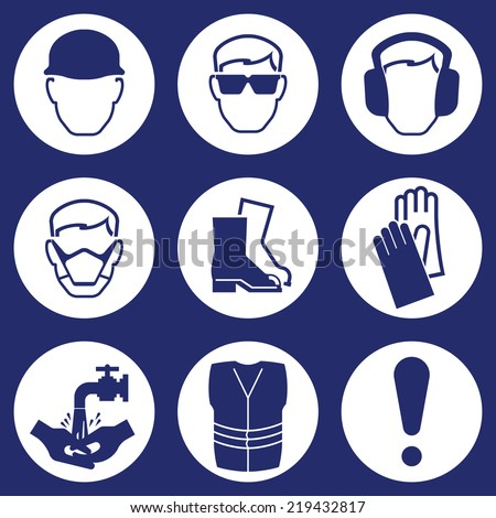 Construction Industry Health and Safety Icons isolated on blue background - stock vector