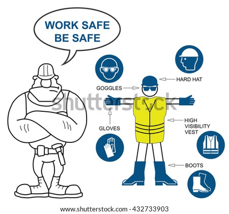 Construction industry mandatory personal protection equipment contractor and icons to current British Standards with work safe be safe message isolated on white background - stock vector