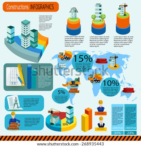 Construction infographics set with industrial building symbols and charts vector illustration - stock vector