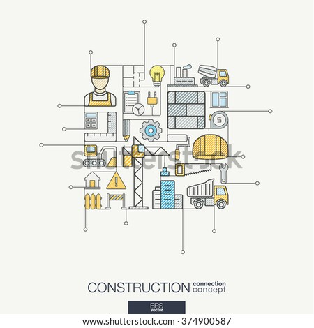 Construction integrated thin line symbols. Modern color vector concept, with connected flat design icon. Abstract background illustration for build, industry, architectural, engineering concept - stock vector