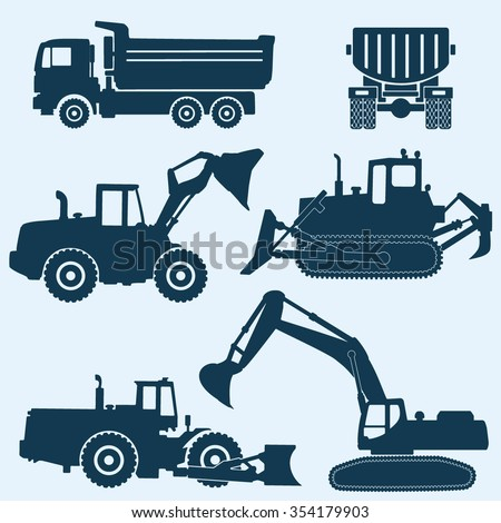 construction machinery - stock vector