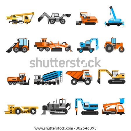 Construction machines and engineering icons set with excavator and roller flat isolated vector illustration  - stock vector
