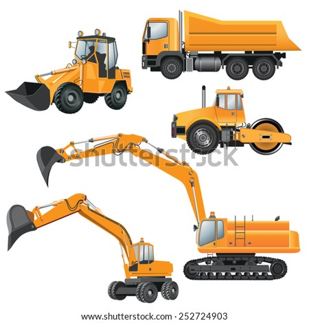 Construction machines bulldozer excavator roller truck vector