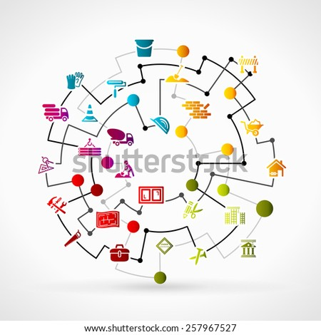Construction network - stock vector