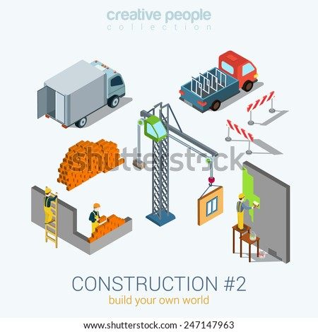 Construction objects set flat 3d web isometric infographic concept vector. Van bricks crane window painter worker staff. Build your world creative people collection. - stock vector