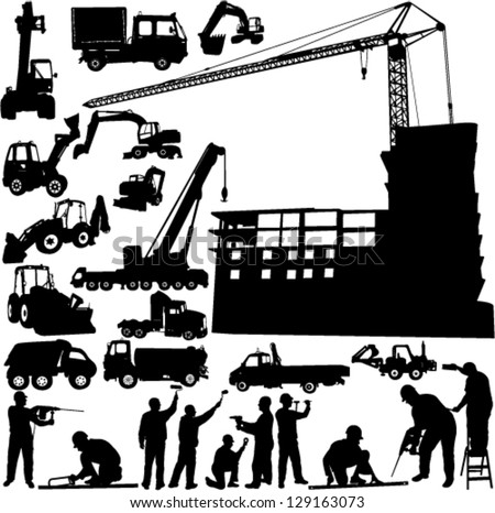 construction objects vector (crane - worker - building - skimmer) - stock vector
