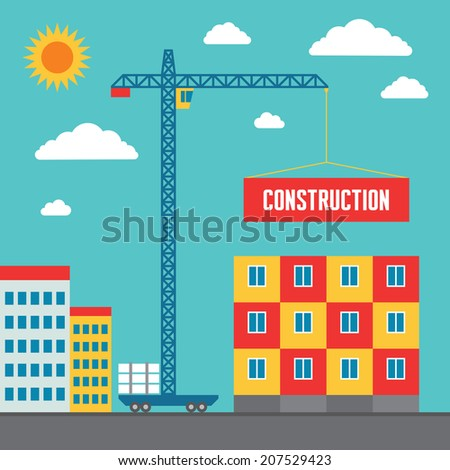 Construction of building - vector concept in flat style design for creative design projects. Real estate illustration. Crane sign.  - stock vector