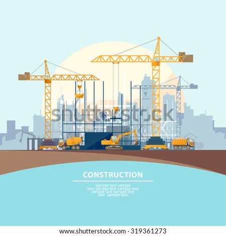 Construction of modern buildings. Flat design.  - stock vector