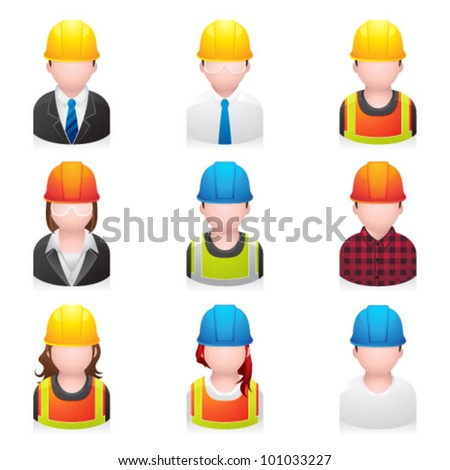 Construction people icon. Transparencies & transparent shadows placed on layer beneath. - stock vector