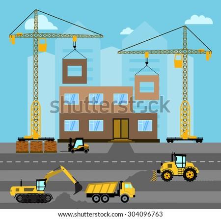 Construction. Process building.Industrial landscape Vector flat illustration. - stock vector