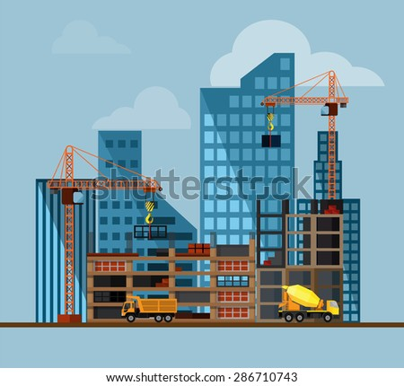 Construction. Process, tools, and materials: building, crane, excavator, bulldozer, tractor, sand, stone, cement. Vector flat illustration - stock vector