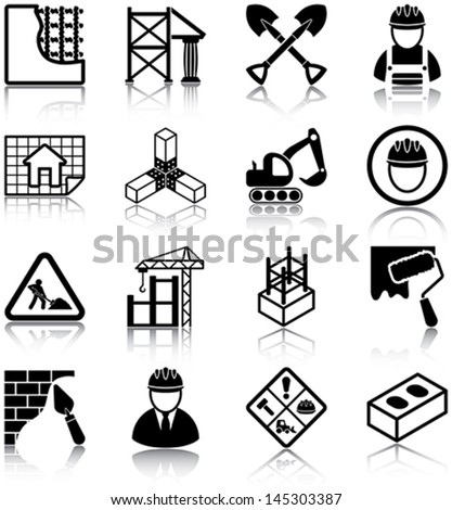 Construction related icons/ silhouettes. - stock vector