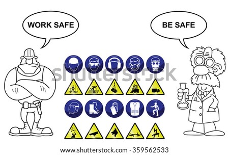 Construction related mandatory & hazards icons and signs isolated on white background with work safe be safe message - stock vector