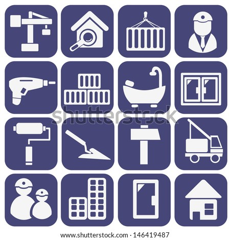 construction, repair flat services icons, signs set, vector - stock vector