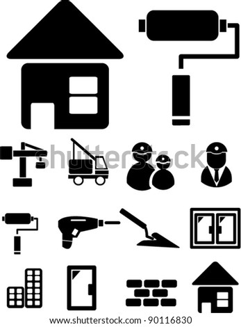 construction & repair icons set, vector illustrations - stock vector
