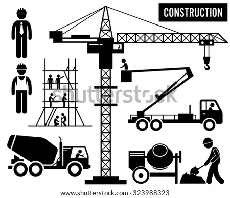 Construction Scaffolding Tower Crane Mixer Truck Sky Lift Heavy Industry Pictogram - stock vector