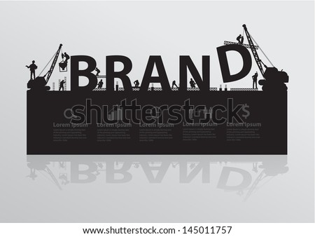 Construction site crane building brand text idea concept, Vector illustration template design - stock vector