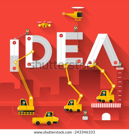 Construction site crane building concept text, Vector illustration template design Text IDEA - stock vector