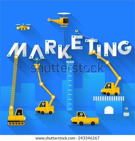 Construction site crane building Marketing text, Vector illustration template design - stock vector