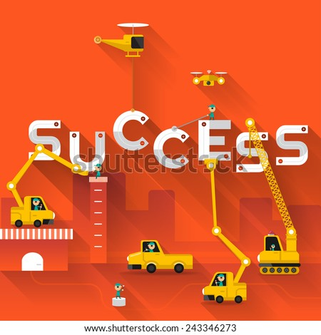 Construction site crane building Success text, Vector illustration template design - stock vector