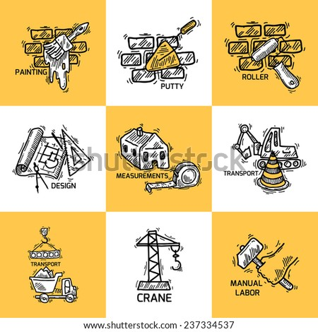Construction sketch decorative icons set with painting putty roller isolated vector illustration - stock vector
