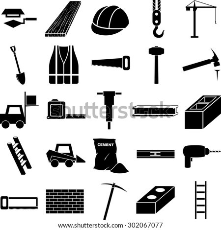 construction symbols set - stock vector