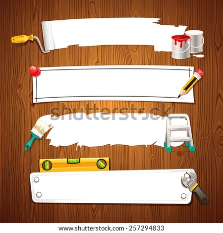 Construction Text Boxes Set on Wooden Background. In the EPS file, each element is grouped separately. - stock vector