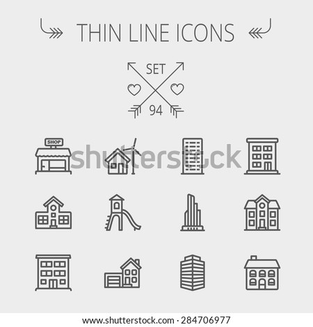 Construction thin line icon set for web and mobile. Set includes -house, playhouse, house with garage, buildings, shop store. Modern minimalistic flat design. Vector dark grey icon on light grey - stock vector