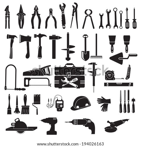 Construction tool collection - vector silhouette - stock vector
