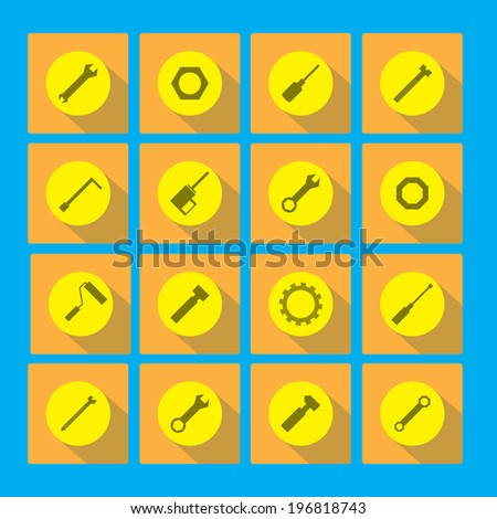 Construction tool collection with long flat shadow - stock vector