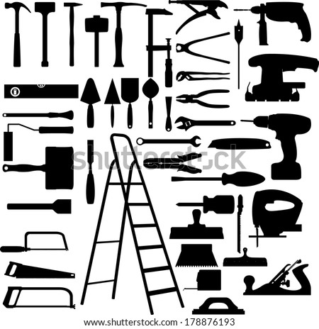 Construction tools collection - stock vector