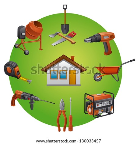 Construction tools icon - stock vector