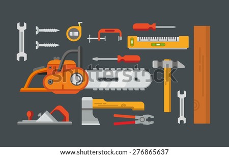 Construction tools objects vector icons, illustrations in flat style. - stock vector