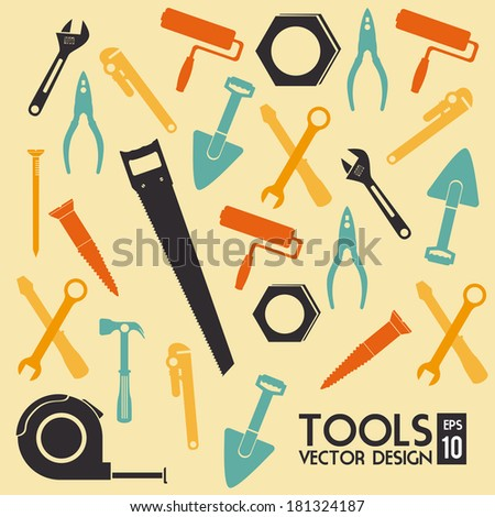 construction tools over beige background vector illustration - stock vector
