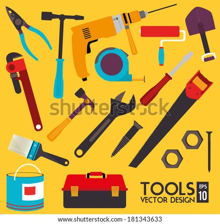 construction tools over yellow background vector illustration - stock vector