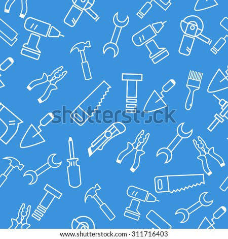 construction tools vector seamless pattern. drill, screwdriver,pliers,saw, knife, wrench, hammer, screwdriver, screws, putty knife, brush.  - stock vector