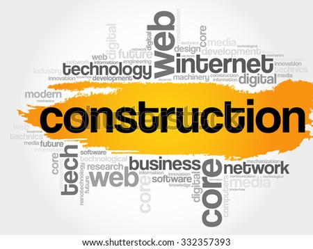 Construction word cloud, business concept - stock vector